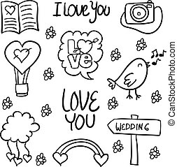 Doodle of wedding element style hand draw