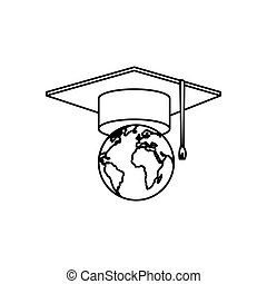 world planet earth with hat graduation