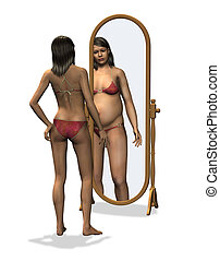 Anorexia - Distorted Body Image - 3D render. A slender young...