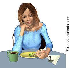 Anorexia - A Tiny Meal - An underweight woman eats a very...