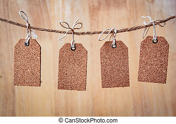 Blank tag with string, price tag, gift tag.
