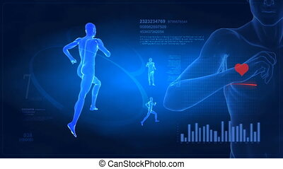 Medical display - running man conce - Monitoring Man in...