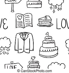 Hand draw wedding element doodles