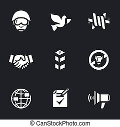Vector Set of Peacemaker Icons. - Soldier, pigeon, barbed...