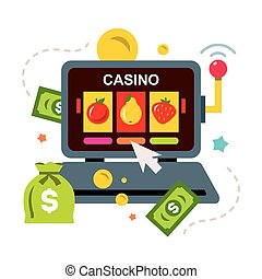 Vector Online Casino concept, gambling. Flat style colorful...
