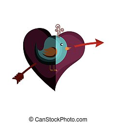 love card with cute bird
