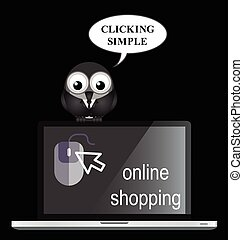 Online shopping - Comical online internet shopping with bird...