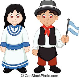 Cute Couple argentina cartoon with National Clothes