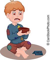 beggar man cartoon - vector illustration of beggar man...