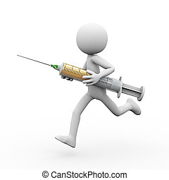 3d man running with syringe