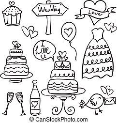 Doodle of wedding element hand draw