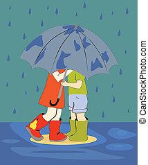 Children in the rain - Children have taken cover under an...