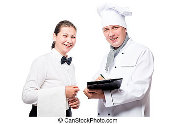 Chef with a folder and a waiter with a towel smiling on a...
