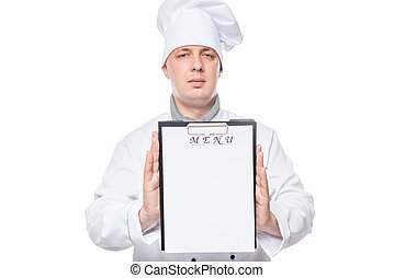 chef holding a blank close-up sheet for the menu recording