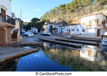 Fishing village Cala Figuera port with slipway and boats, Majorca, Spain