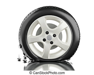 3d Close up of flat tire. - 3d illustration. Close up of...