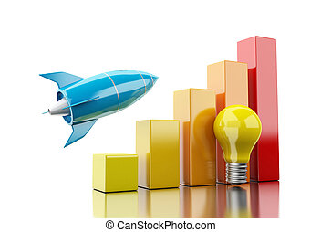 3d Rocket aiming for the top of bar graph - 3d illustration....