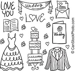 wedding element style hand draw in doodles