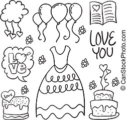 Hand draw element wedding in doodles