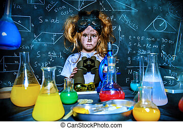 explosion in laboratory - Funny little girl doing...