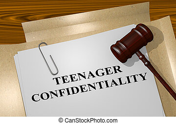 Teenager Confidentiality - legal concept - 3D illustration...
