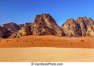 Orange Yellow Sand Rock Formation Valley of Moon Wadi Rum...