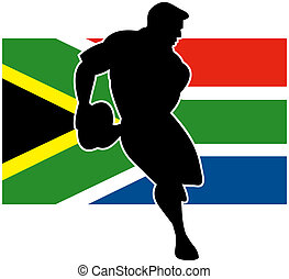 rugby player running passing flag of South Africa