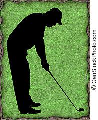 silueta,  golfer, verde, fundo