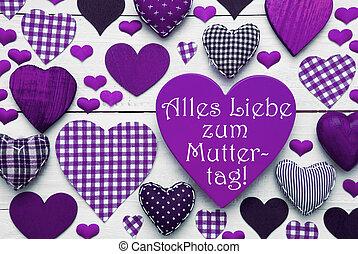 corazón, madres, púrpura, medios, textura, muttertag, día,...