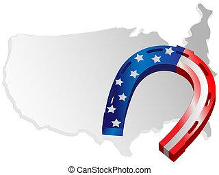 Horseshoe and map USA