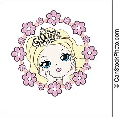 princess in flower blonde - face of the lovely little...