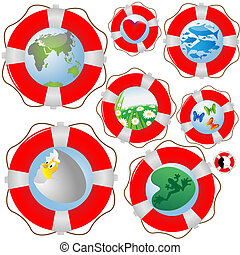 Lifebuoy - Collection on lifebuoys with the image of...