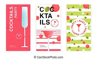 cocktail party flyer, invitation templates set.