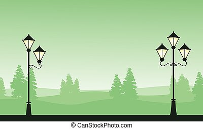 Silhouette landscape with street lamp on garden
