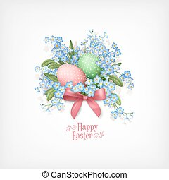 Happy Easter Card. Vector spring flowers and eggs