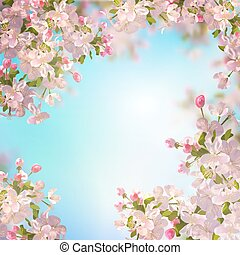 Spring Apple blossom - Vector background with spring Apple...