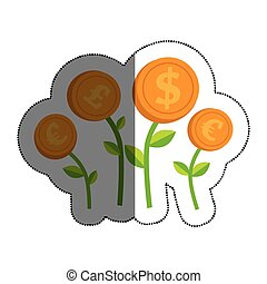 plants with coins isolated icon vector illustration design
