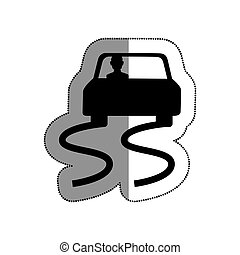Slippery way road sign vector illustration design