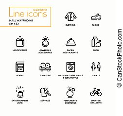 Mall Wayfinding - modern vector single line icons set....