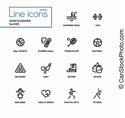 Sports center - modern vector single line icons set....