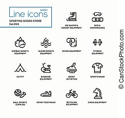 Sporting goods store - modern vector single line icons set....