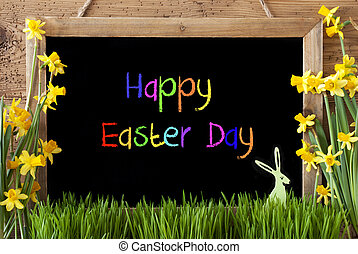 Narcissus, Bunny, Colorful Text Happy Easter Day -...