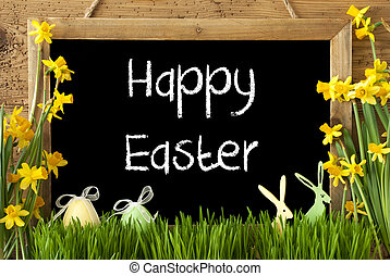 Narcissus, Egg, Bunny, Text Happy Easter - Blackboard With...