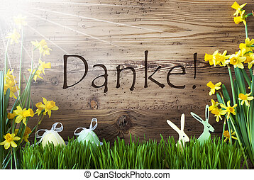 Sunny Easter Decoration, Gras, Danke Means Thank You -...