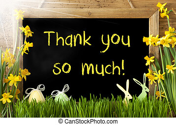 Sunny Narcissus, Easter Egg, Bunny, Text Thank You So Much -...