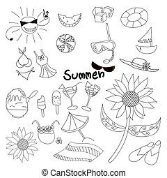 Collection Summer Time Doodle. Hand Draw Vector...
