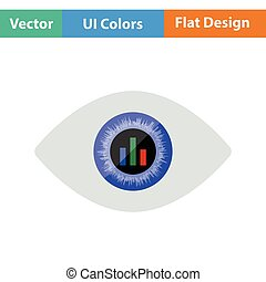 Eye with market chart inside pupil icon. Flat design. Vector...