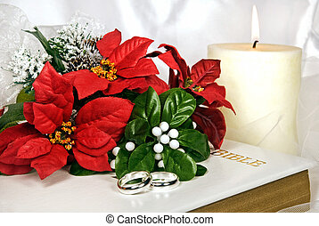Wedding Red - Christmas wedding bouquet and rings on Holy...