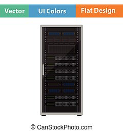 Server rack icon. Flat design. Vector illustration.