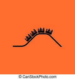 Small roller coaster icon. Orange background with black....